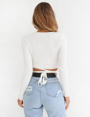 Oversized Tie Back Knitted Wrap Front Sweater Crop Tops
