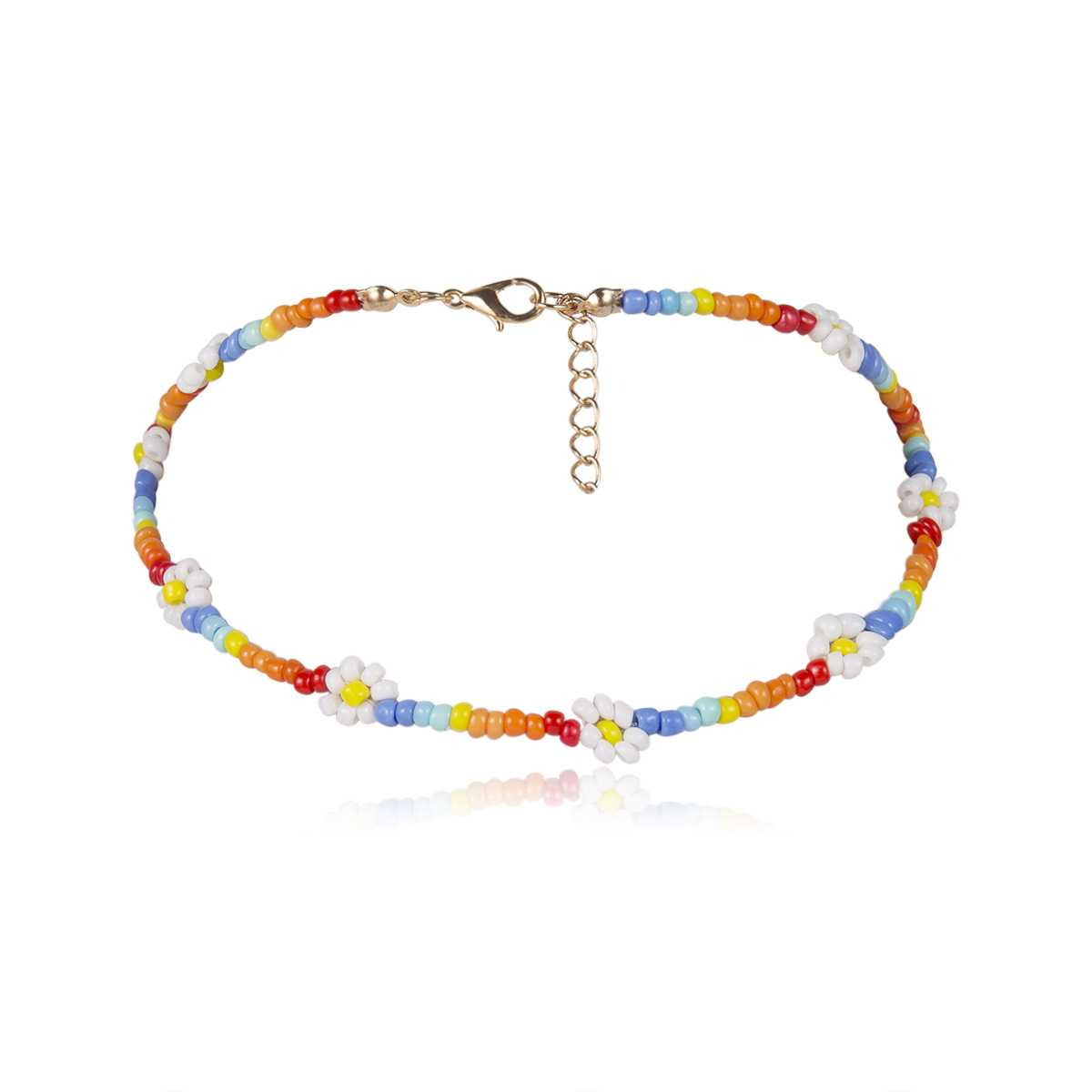 Boho Handmade Colorful Flower Rainbow Beaded Choker Necklaces