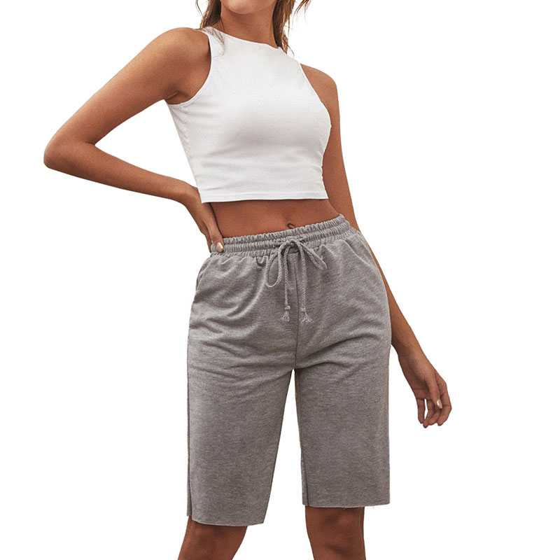 Boyfriend Elastic Fit High Waisted Workout Cropped shorts