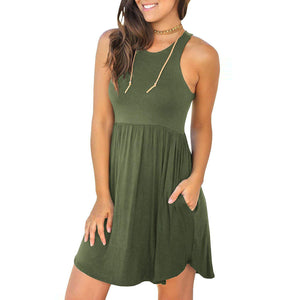 Casual Tummy Hide High Waisted Racerback Dress Sundress