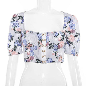 Vintage Floral Print Puff Sleeve Hook And Eye Crop Bodice Top