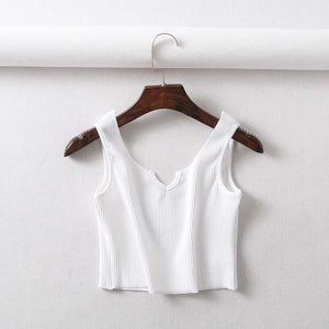 Breathable Ribbed Cotton V Cut Crop Top Sleeveless