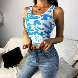 Sporty Ribbed U Neck Pastel Tie Dye Cropped Tank Tops For Women