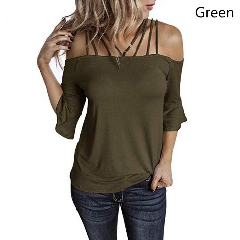 Oversized Strappy Off The Shoulder Tops Puff Sleeve
