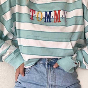 Personalized Letters Embroidered Striped Hoodies Womens