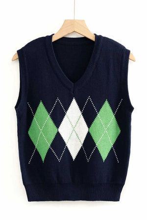 Checkered Cropped Knitted Tank Argyle Sleeveless Jumper