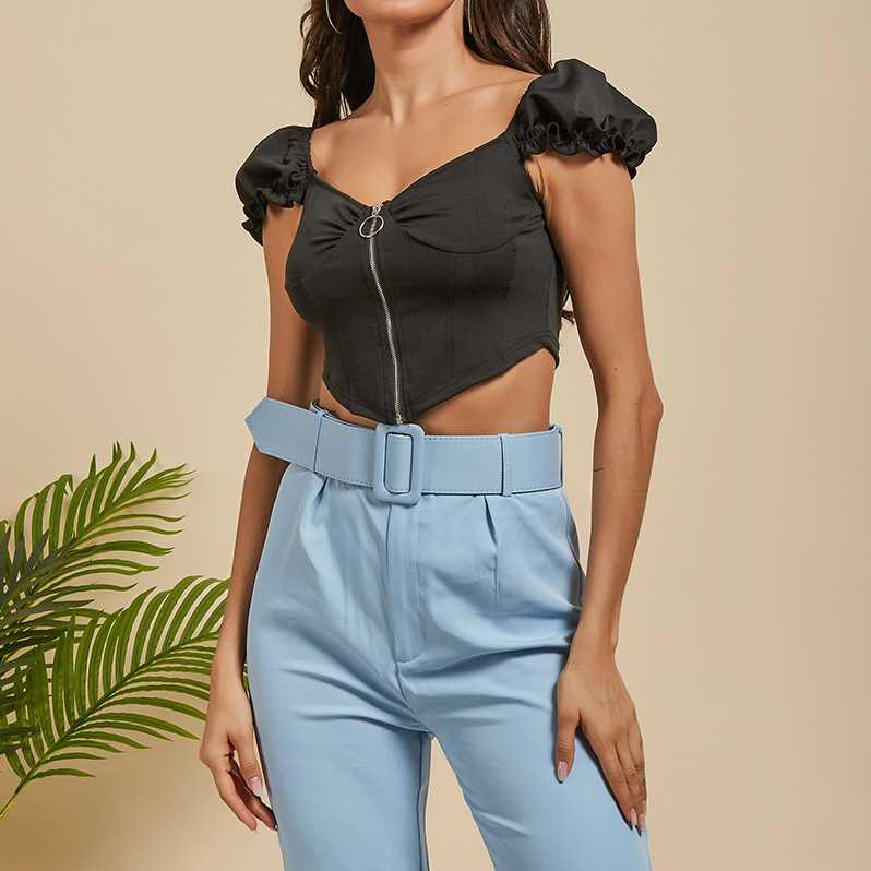 Frill Puff Sleeve Underwired Cups Crop Top Blouse