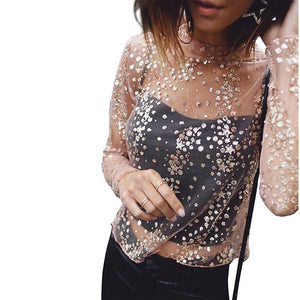 Sparkly Long Sleeve Sequin Embellished Mesh Tops for women
