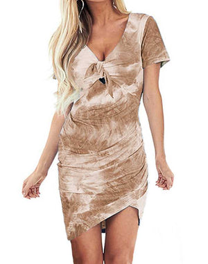 Popular Front Tie Knot Tie Dye Dress Short Sleeve