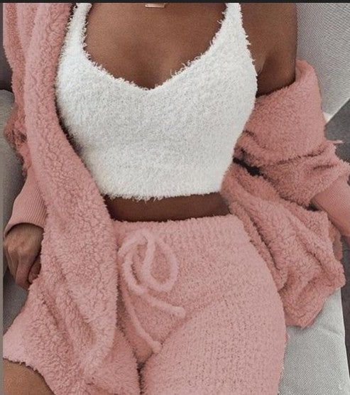 Comfy Faux Fur Crop Top Shorts And Jackets