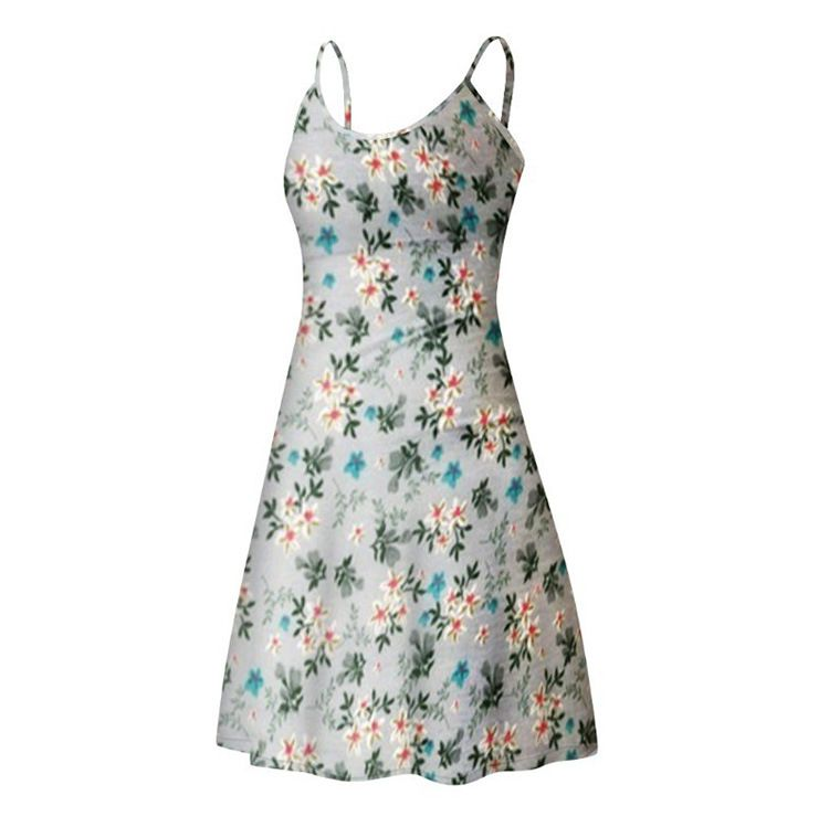 Bohemian Garden Flowers Short Floral Summer Bodycon Scoop Dress