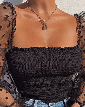 Polka Dot Black Sheer Mesh Long Sleeve Ruched Shirts Tops