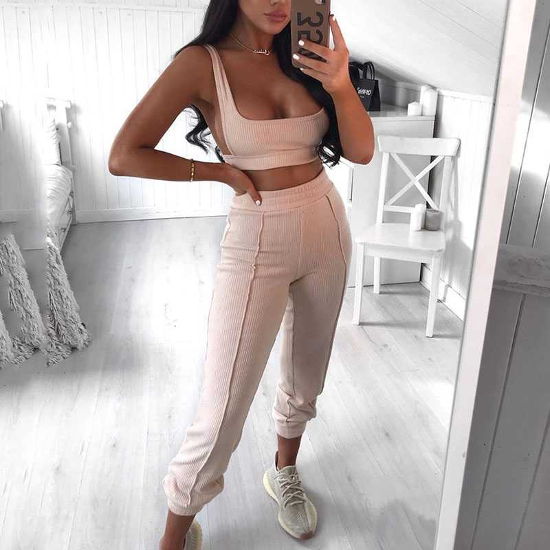 Knitted Two Piece Co ord Set Crop Top and Jogger Pant Outfit