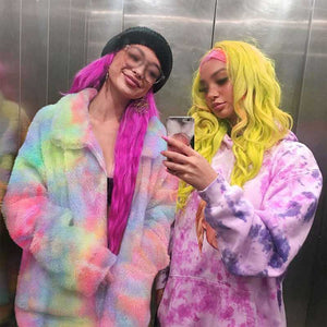 Colorful Rainbow Painted Tie Dye Faux Fur Coats For Women