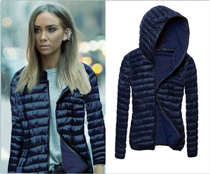 Slimming Lightweight Packable Cotton Padded Hooded Puffer Jacket