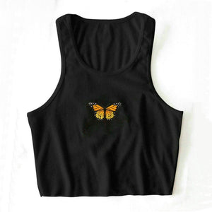 Colorful Butterfly Embroidered Ribbed Cotton Tank Top Crop Top