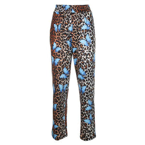 Casual Cow Print Straight Leg Trouser High Waisted Pants