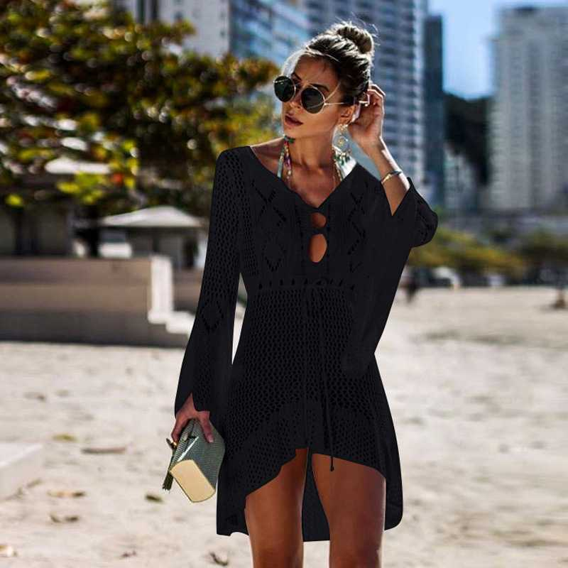Boho High Low Puff Sleeve Crochet Beach Dress Swim Cover Ups
