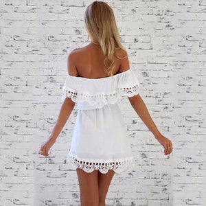 Lace Trimed Off The Shoulder White Mini-Dress Flowy