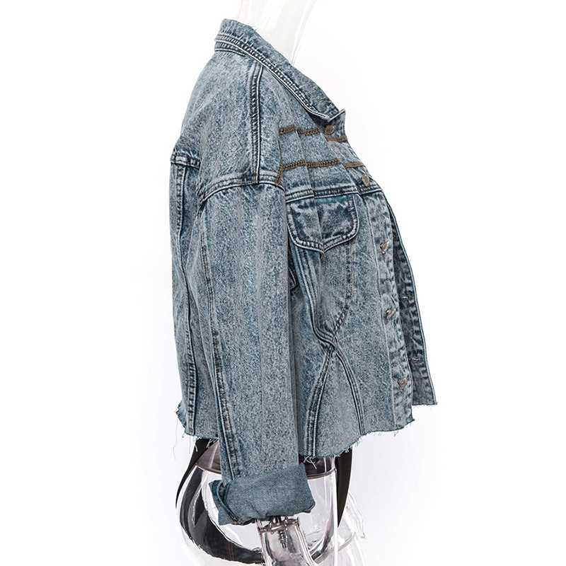 Cool Oversized Cropped Denim Jacket Womens