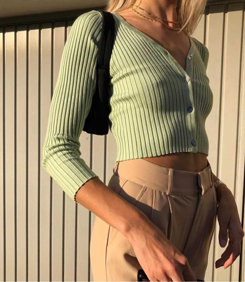 Casual Ribbed Long Sleeve Button Down Crop Tee Shirts