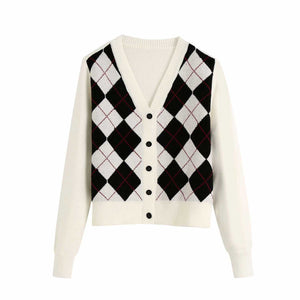 Classic Retro Color block Argyle Print Button Down Sweaters