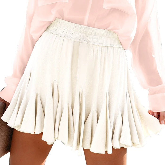 Easy To Team Elastic Waistband Flounce Mini Skirt