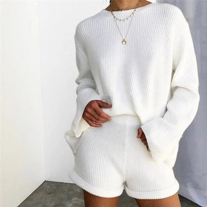 Matching Knitted Two Piece Top and Shorts Co ord Set