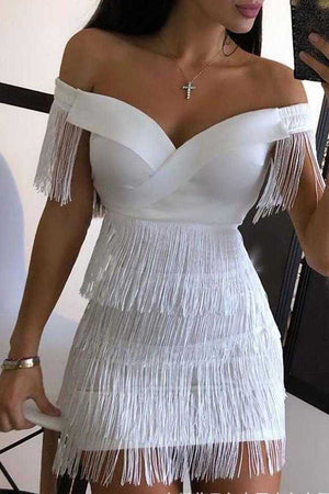 Fabulous White Layered Tassel Fringe Dress Off Shoulders