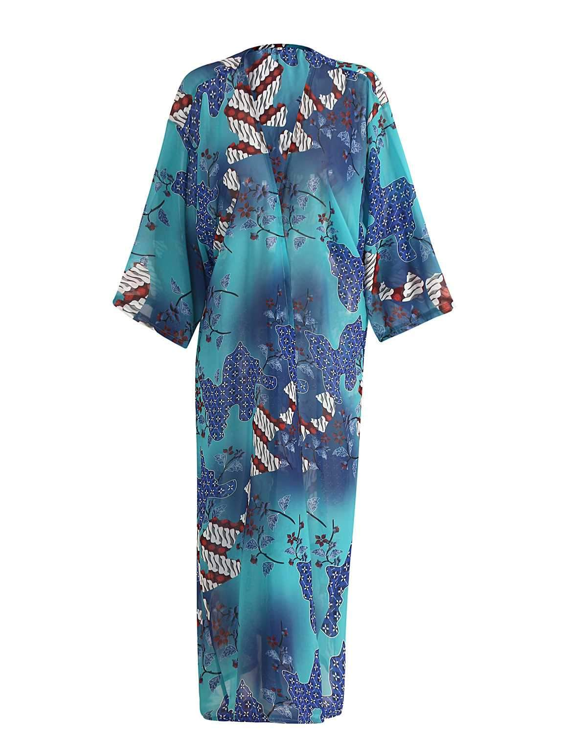 Retro Floral Coverups Dress Beach Wear Kimono
