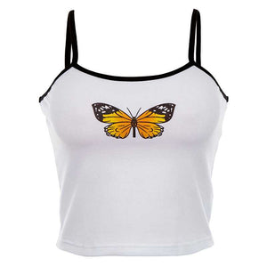 Esthetic Butterfly Printed Spaghetti Strap Butterfly Tank Top