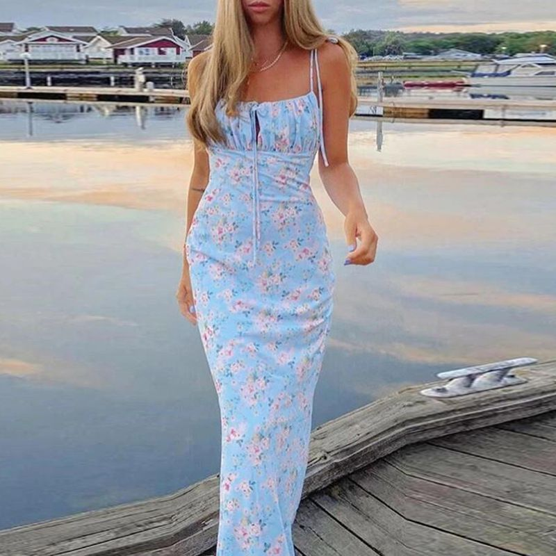 Elastic Bow Tie Shoulder Garden Floral Ruched Summer Maxi Dress