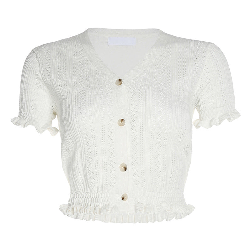 Cotton Braided Ruffle Hem V Neck Button Up knitted Crop Tops
