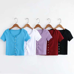 Knitted Short Sleeve Button Down Crop Top Tshirts