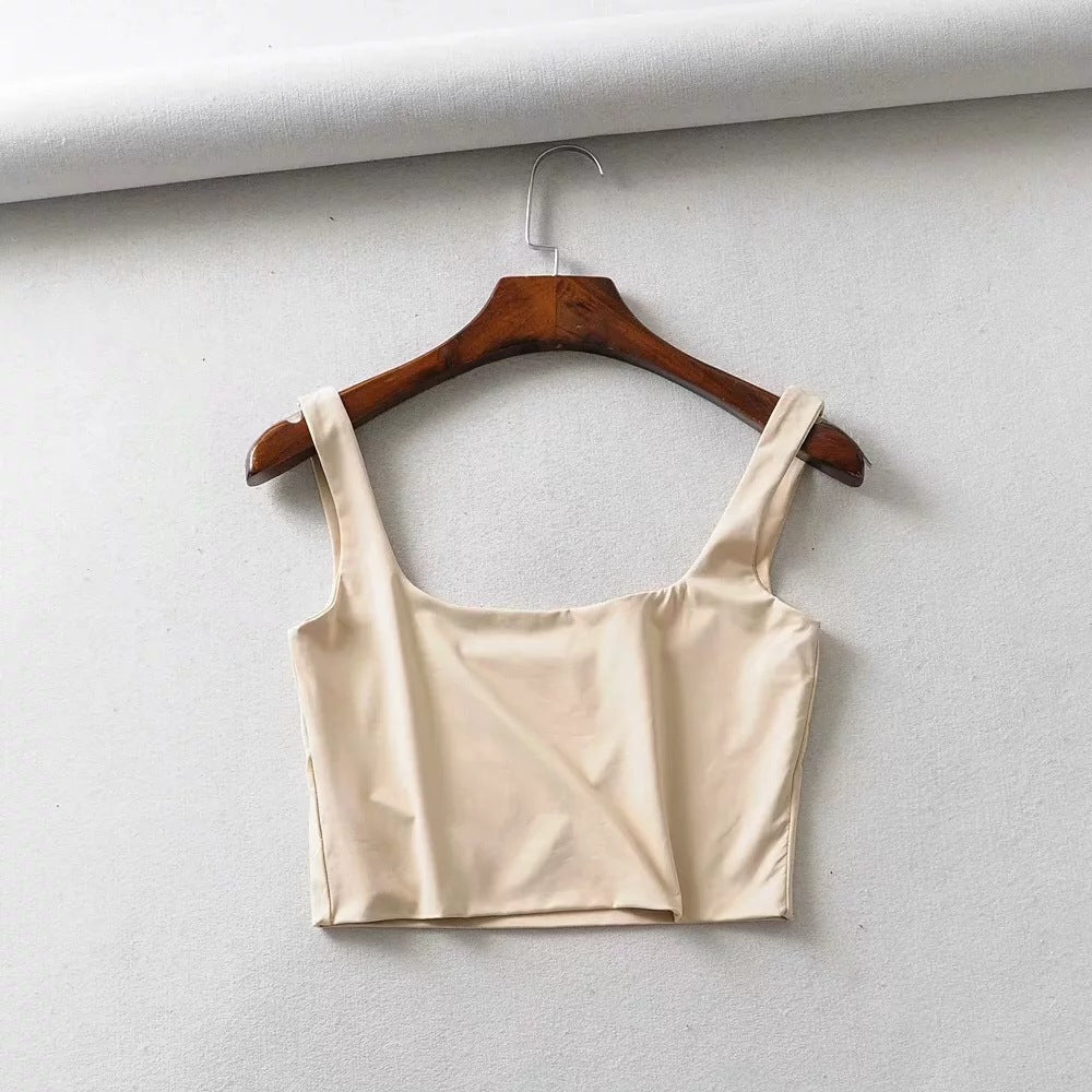 Athletic Wide Strap Gym Tanks Sport Crop Top Tank