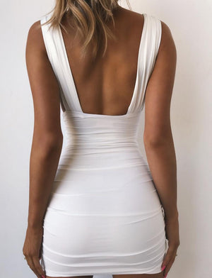 Sexy Wide Strap Deep V Neck Plunge Ruched Bodycon Dress