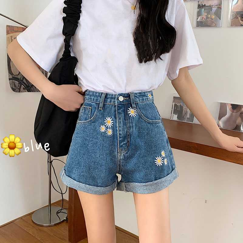 Cute Daisy Flowers Embroidered Loose Cuffed Denim Shorts