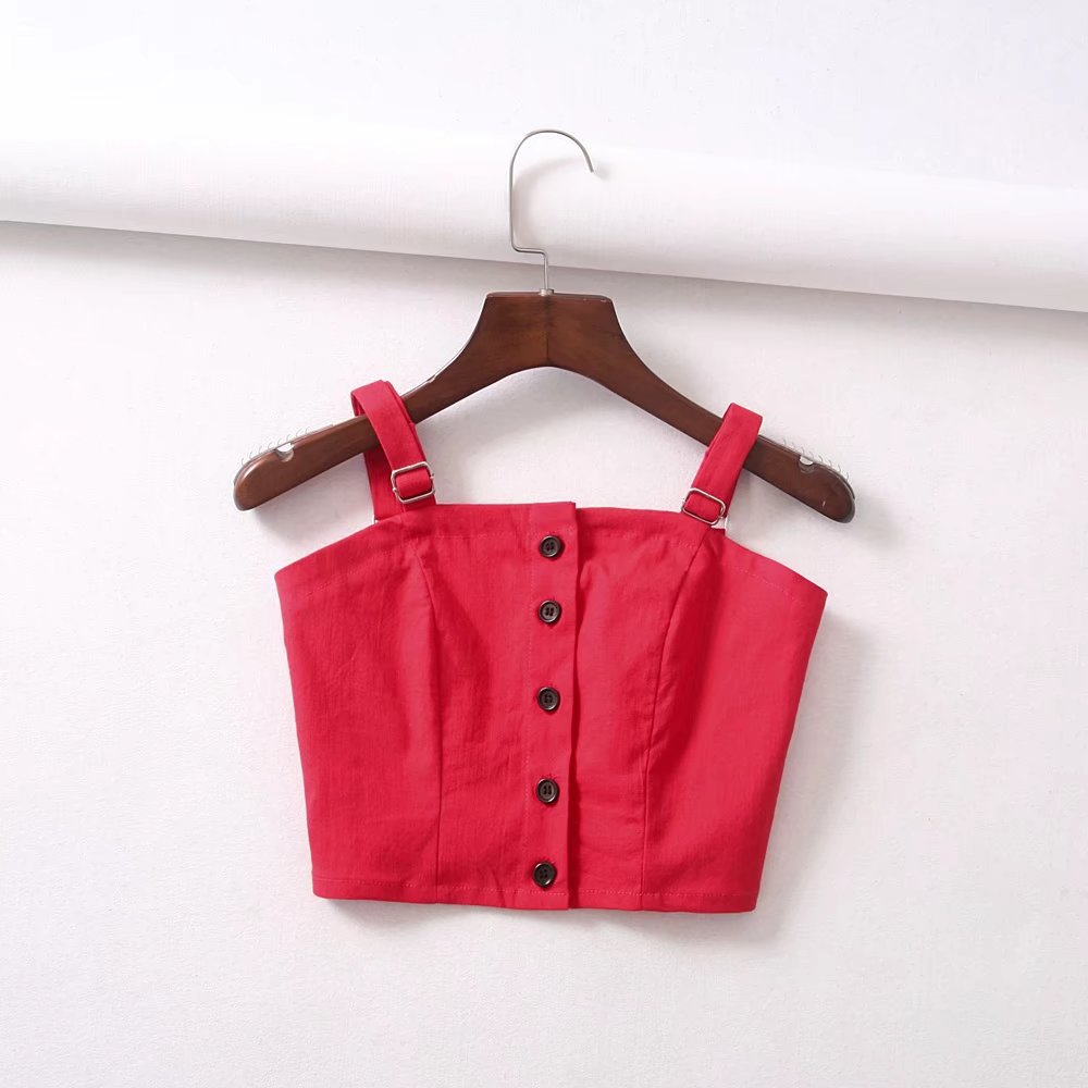 Wide Strap Adjustable Button Up Crop Top Tank Vest