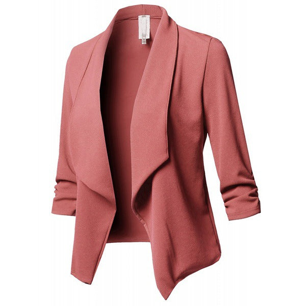 Classic Shawl Collar Short Cardigan Blazer Coat Long Sleeve