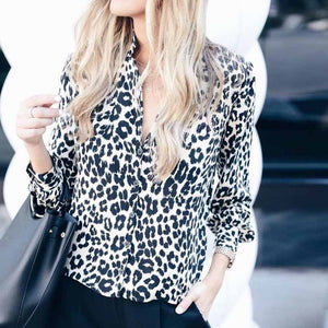 Oversized Retro Long Sleeve Leopard Print Button Up Shirt Womens
