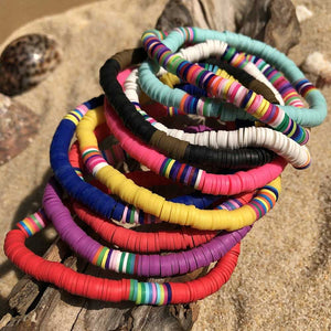 Recyclable Rainbow Colorful Polymer Clay Beads Bracelets Jewelry