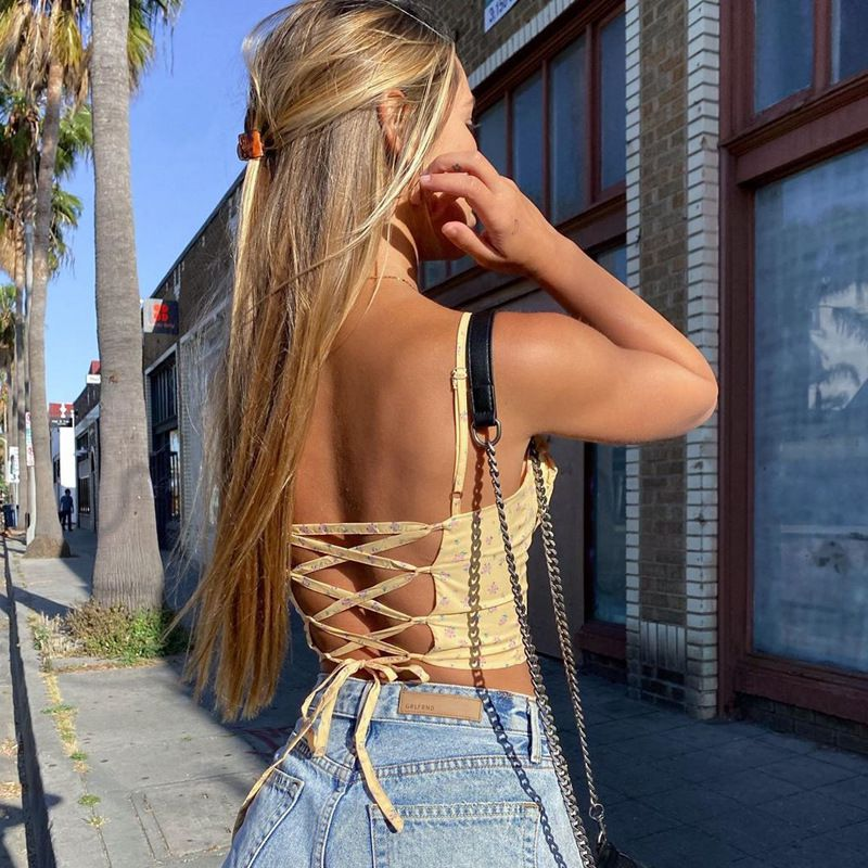 Spaghetti Strap Cross Back Lace Up Floral Scrunched Tank Tops