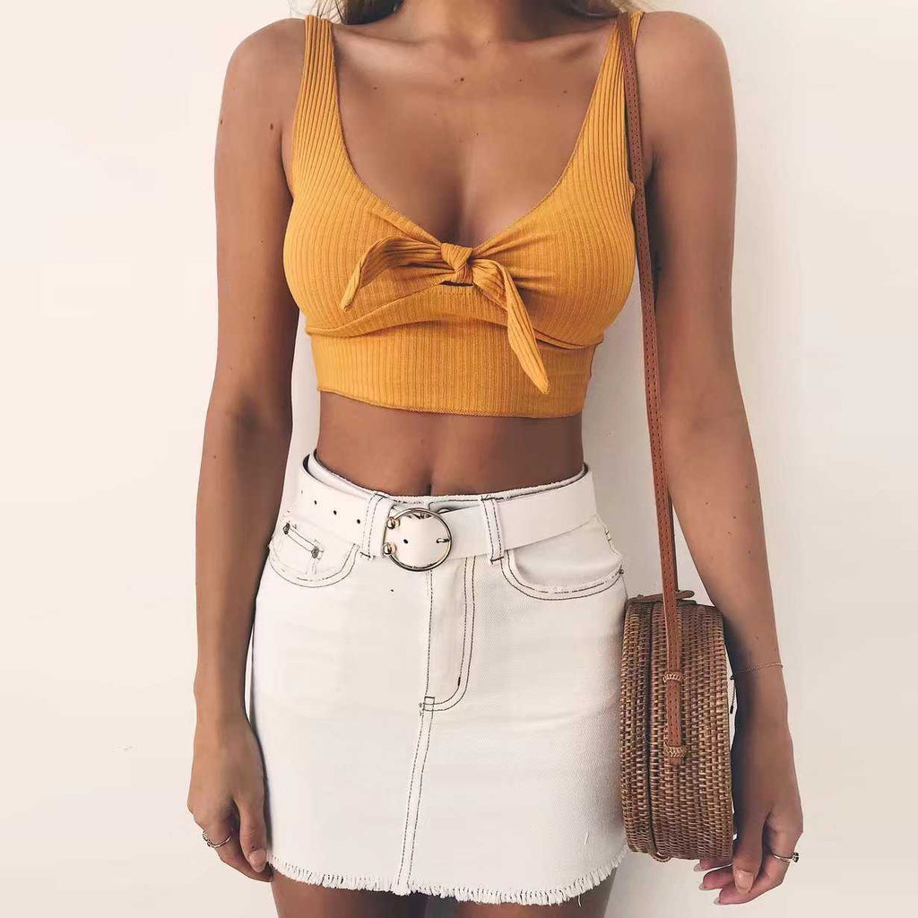Elastic Fit Push Up Ribbed Tie Front Crop Top Shirt