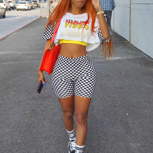Sporty Color Combos Printed Checkerboard Crop Tee and Biker Shorts Set