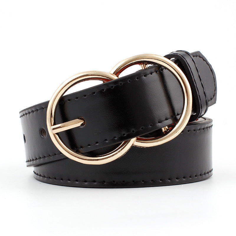 Popular Double Rings Faux Leather Belts