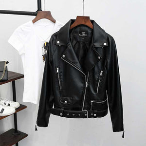 Womens Motorcycle Style Black Faux Leather Moto Jacket