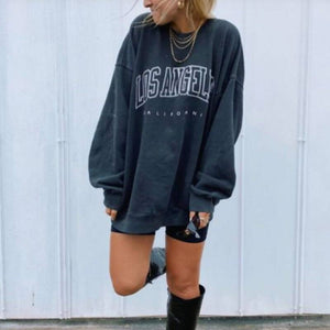 Comfy Personalized Slogan Letters Printed Crew Necks Sweatshirt Sweater