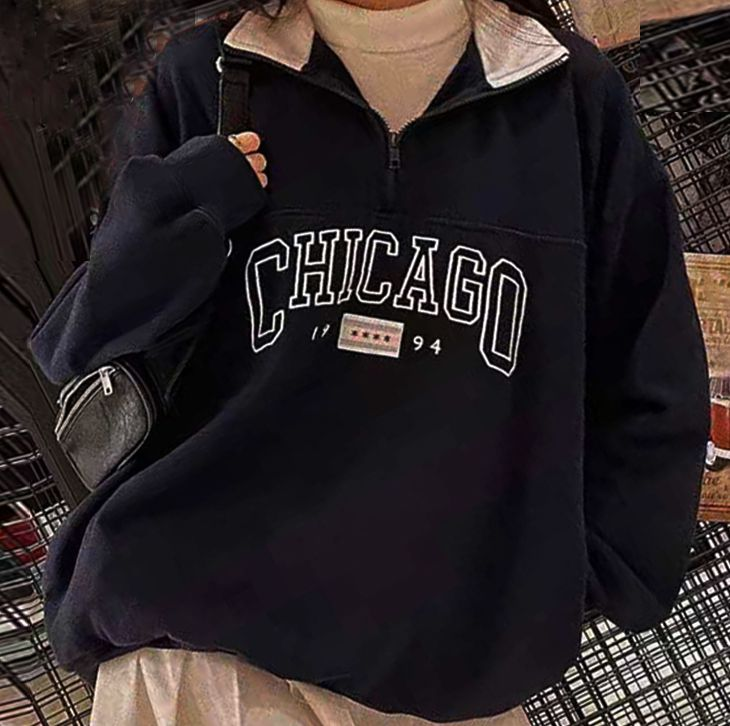 1/4 Zipper White Collared Embroidery Chicago Sweatshirt Pullover