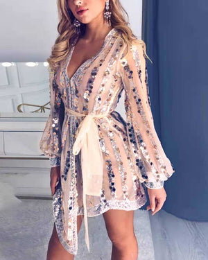 Casual Tassel Embellished Long Sleeve Sequin Tulle Dress