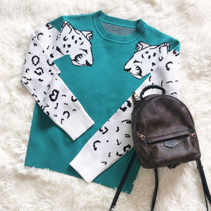 Contrast White Leopard Knit Crewneck Jumper Sweater Ribbed